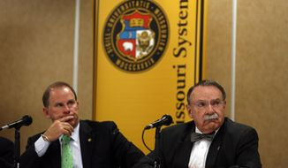 University of Missouri President Tim Wolfe, left, and University of Missouri Chancellor R. Bowen Loftin participate in a news conference Friday, April 11, 2014, in Rolla, Mo. The news conference was held to discuss an outside legal review of the university's response to a case involving school swimmer Sasha Menu Courey, who killed herself 16 months after an alleged off-campus rape by as many as three football players in February 2010.  (AP Photo/Jeff Roberson)