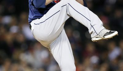 Cleveland Indians relief pitcher Marc Rzepczynski delivers against the Chicago White Sox during the fifth inning of a baseball game on Friday, April 11, 2014, in Chicago. (AP Photo/Andrew A. Nelles)