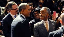 President Barack Obama at the 2014 National Action Network conference in New York with the group's founder, Rev. Al Sharpton, right. (AP Photo/The Daily News, Julia Xanthos, Pool)