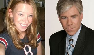 Boston Marathon bombing survivor Adrianne Haslet-Davis allegedly walked out of the set of Meet the Press with David Gregory (right).