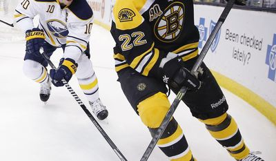 Boston Bruins' Shawn Thornton (22) and Buffalo Sabres' Christian Ehrhoff (10) battle for the puck in the second period of an NHL hockey game in Boston, Saturday, April 12, 2014. (AP Photo/Michael Dwyer)