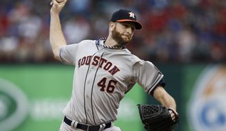 Houston Astros starting pitcher Scott Feldman (46) delivers to the Texas Rangers during the first inning of a baseball game, Friday, April 11, 2014, in Arlington, Texas. (AP Photo/Jim Cowsert