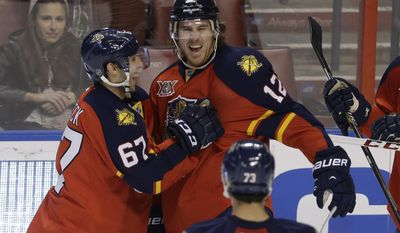 Florida Panthers right wing Jimmy Hayes (12) celebrates with center Vincent Trocheck (67) after scoring a goal in the second period of a hockey game against the Columbus Blue Jackets, Saturday, April 12, 2014, in Sunrise, Fla. (AP Photo/Lynne Sladky)