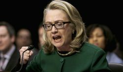 "Her own words: In her final days as secretary of state, Hillary Rodham Clinton tells a Senate committee that she saw no specific security requests for Benghazi and ""I wasn't involved in the talking points process."" (Associated Press)"