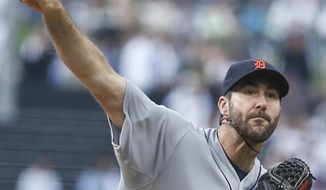 Detroit Tigers starting pitcher Justin Verlander works against the San Diego Padres in the first inning of a baseball game Saturday, April 12, 2014, in San Diego. (AP Photo/Lenny Ignelzi)