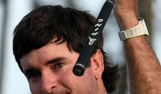 APRIL 13, 2014 AUGUSTA Bubba Watson tears up after winning the Masters Golf Tournament Sunday afternoon, April 13, 2014 in Augusta, Ga.  (AP Photo/Atlanta Journal-Constitution, Brant Sanderlin)  MARIETTA DAILY OUT; GWINNETT DAILY POST OUT; LOCAL TV OUT; WXIA-TV OUT; WGCL-TV OUT