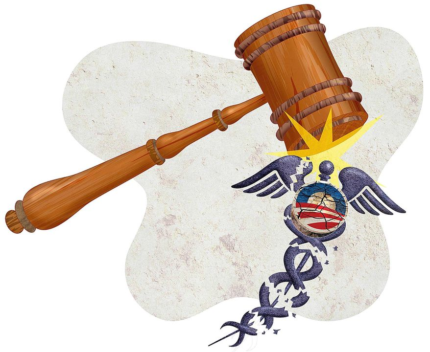 Lawsuit Against Obamacare Illustration by Greg Groesch/The Washington Times