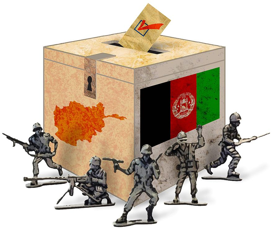 Afghan Election Soldiers Illustration by Greg Groesch/The Washington Times