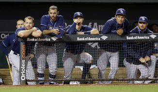 Members of the Tampa Bay Rays watch from the dugout in the ninth inning of a baseball game against the Baltimore Orioles, Monday, April 14, 2014, in Baltimore. Baltimore won 7-1. (AP Photo/Patrick Semansky)