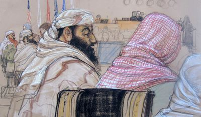 In this pool photo of a Pentagon-approved sketch by court artist Janet Hamlin, defendant Ramzi Binalshibh, center, attends his pretrial hearing along with other defendants at the Guantanamo Bay U.S. Naval Base in Cuba, Monday, April 14, 2014. From right to left are Mustafa al Hawsawi, partially cut off, Ali Abdul Aziz Ali, Ramzi Binalshibh, Walid bin Attash and Khalid Sheikh Mohammad. A lawyer for one of five defendants in the Sept. 11 war crimes tribunal said Monday that FBI agents questioned a member of his defense team, apparently in an investigation related to the handling of evidence, a revelation that brought an abrupt halt to proceedings. The disclosure came at the start of what was supposed to be a mental competency hearing for Harrington's client, Ramzi Binalshibh, a Yemeni accused of providing logistical support to the Sept. 11, 2001, terrorist plot. (AP Photo/Janet Hamlin, Pool)