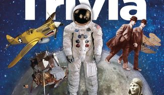 """This book cover image released by Smithsonian Books shows """"The Smithsonian Book of Air & Space Trivia"""", edited by Amy Pastan. (AP Photo/Smithsonian Books)"""