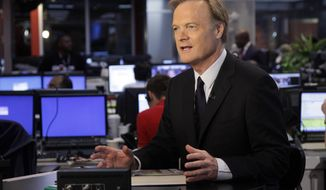 FILE - In this Sept. 27, 2010 file photo, Lawrence O'Donnell, political analyst for the cable news channel MSNBC, appears on his set in New York. O'Donnell was injured with his brother Michael in a taxi accident on Saturday, April 12, 2014, while vacationing out of the country. The network did not specify where. (AP Photo/Richard Drew, File)