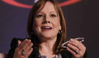 Mary Barra, CEO of General Motors, speaks at the 2014 Automotive Forum, Tuesday, April 15, 2014 in New York. The forum is sponsored by the National Automobile Dealers Association (NADA) and J.D. Power.(AP Photo/Mark Lennihan)