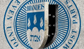 Illustration on Brandeis University by Alexander Hunter/The Washington Times