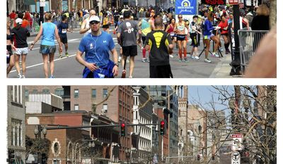 This combination of April 15, 2013 and April 10, 2014 photos, the first provided by Bob Leonard, shows people running away from a bomb blast along Boylston Street near the finish line of the Boston Marathon, and a patron entering a taxi on the same street nearly a year later in Boston. (AP Photo/Courtesy of Bob Leonard; and Elise Amendola)