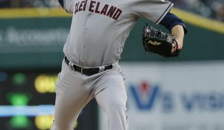 Cleveland Indians starting pitcher Zach McAllister throws during the first inning of a baseball game against the Detroit Tigers in Detroit, Wednesday, April 16, 2014. (AP Photo/Carlos Osorio)