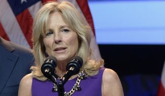 Jill Biden, wife of Vice President Joe Biden, speaks in Washington on April 7, 2014. (Associated Press/file)