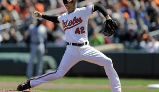 Baltimore Orioles starting pitcher Miguel Gonzalez throws to the Tampa Bay Rays in the first inning of a baseball game, Wednesday, April 16, 2014, in Baltimore. (AP Photo/Patrick Semansky)