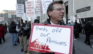 FILE- In this Oct. 23, 2013 file photo, Dennis Marton walks with protesters at a rally outside The Theodore Levin United States Courthouse in Detroit. The city of Detroit reached tentative agreements to preserve pensions for retired police office and firefighters but cut monthly payments for other former employees, officials said Tuesday, April 15, 2014. (AP Photo/Paul Sancya, File)