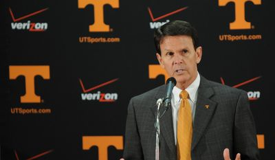 University of Tennessee Athletic Director Dave Hart answers question from the media about the departure of basketball Head Coach Cuonzo Martin.California hired Tennessee's Cuonzo Martin as its head coach Tuesday.  (AP Photo/The Daily Times, Joy Kimbrough)
