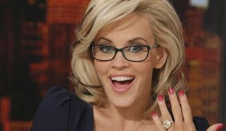 "This image released by ABC shows co-host Jenny McCarthy showing off her ring after she announced her engagement to fiance Donnie Wahlberg on the daytime series ""The View,"" Wednesday, April 16, 2014 in New York. (AP Photo/ABC, Heidi Gutman)"