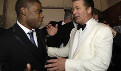 """**FILE** Alec Baldwin (right) and Tracy Morgan are seen backstage after """"30 Rock"""" won the award for outstanding comedy series at the 59th Primetime Emmy Awards at the Shrine Auditorium in Los Angeles on Sept. 16, 2007. Billy Baldwin is at rear right. (Associated Press)"""