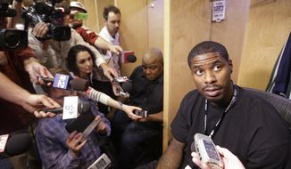 Utah Jazz's Marvin Williams speaks to the media on the day the Jazz cleaned out their lockers after a 25-57 season, Thursday, April 17, 2014, in Salt Lake City. (AP Photo/Rick Bowmer)