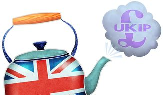 """Illustration on UKIP, the """"British Tea Party"""" by Greg Groesch/The Washington Times"""