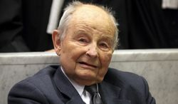 FILE - In this May 21, 2013 file photo, Jacques Servier, founder of Servier Laboratories, is pictured during the opening of the trial of the so-called Mediator case, a drug allegedly linked to hundreds of deaths, at Nanterre's court house, outside Paris. Servier, the founder of France's second-largest pharmaceutical group who became ensnared in a scandal over a diabetes drug widely used for weight loss, has died. He was 92. (AP Photo/Thibault Camus, File)