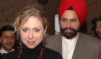 FILE- In this Jan. 3, 2006 file photo, Chelsea Clinton, daughter of former US President Bill Clinton, stands with businessman Sant Singh Chatwal during a private visit, in New Delhi, India. Chatwal, a hotel executive who raised at least $100,000 for Secretary of State Hillary Rodham Clinton's 2008 presidential campaign against Barack Obama, on Thursday, April 17, 2014 pleaded guilty in New York to witness tampering and conspiracy to evade campaign finance laws. (AP Photo/File)