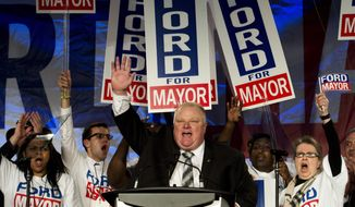 Toronto Mayor Rob Ford reacts as he speaks to his supporters during his re-election campaign launch in Toronto, on Thursday, April 17, 2014. (AP Photo/The Canadian Press, Nathan Denette)