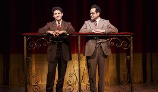 "This image released by Lincoln Center Theater shows Santino Fontana, left, and Tony Shalhoub in a scene from ""Act One,"" at the Vivian Beaumont Theater in New York. (AP Photo/Lincoln Center Theater, Joan Marcus)"