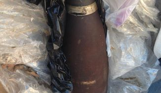 This image provided by the Santa Barbara County Sheriff's Office Wednesday April 16, 2014 shows the military ordnance that caused the evacuation of between 500 and 700 homes and businesses Wednesday in Solvang Calif. The tiny town 100 miles northwest of Los Angeles is a tourist stop known for its Danish-themed shops and buildings.  (AP Photo/Santa Barbara County Sheriffs Office)