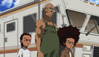 "This image released by Adult Swim shows characters, from left, Riley Granddad and Huey in a scene from the ""Breaking Granddad"" episode of the animated series ""The Boondocks,"" airing Monday, April 21 on Adult Swim.  (AP Photo/Adult Swim)"