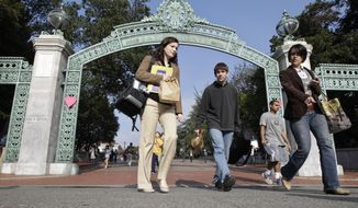 University of California, Berkeley students walk through Sather Gate on the campus. (AP Photo/Paul Sakuma, file)