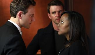 "This image released by ABC shows Tony Goldwyn, from left, Scott Foley and Kerry Washington in a scene from ""Scandal.""  The popular series ended its third season Thursday, April 18, 2014. (AP Photo/ABC, Ron Tom)"