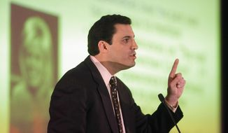 David Silverman, president of the American Atheists, addresses the American Atheists National Convention in Salt Lake City on Friday, April 18, 2014. (AP Photo/Rick Bowmer) ** FILE **
