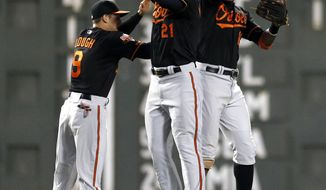 Baltimore Orioles' David Lough (9), Nick Markakis (21) and Adam Jones (10) celebrate the team's 8-4 win overthe Boston Red Sox in a baseball game in Boston, Friday, April 18, 2014. (AP Photo/Michael Dwyer)