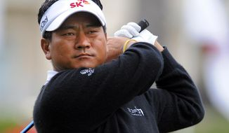 K. J. Choi, of South Korea, watches his drive from the 10th tee during the second round of the RBC Heritage golf tournament in Hilton Head Island, S.C., Friday, April 18, 2014. (AP Photo/Stephen B. Morton)