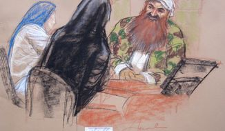 In this Pentagon-approved sketch by court artist Janet Hamlin,  Sept. 11 accused conspirator Khalid Sheikh Mohammad confers with defense attorney Cheryl Bormann, in black abaya prior to hearing at the Guantanamo Bay U.S. Naval Base in Cuba, Thursday April 17, 2014. An effort to prosecute the self-proclaimed mastermind of the Sept. 11 terrorist attack and four co-defendants veered off track again Thursday as a pretrial hearing ended with new obstacles that threaten to further derail the case before a military tribunal at Guantanamo Bay. (AP PHOTO/Janet Hamlin, Pool)