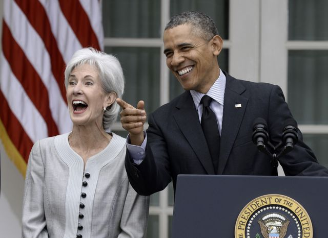 FILE - In this April 11, 2014 file photo President Barack Obama shares a laugh with outgoing Health and Human Services Secretary Kathleen Sebelius in the Rose Garden of the White House in Washington. A spokeswoman said Friday, April 18, 2014, that Sebelius is not considering running for the U.S. Senate. The statement is in line with comments from Sebelius' fellow Democrats about speculation that she'd return to Kansas this year to run for the seat held by three-term Republican Sen. Pat Roberts. (AP Photo/Susan Walsh)