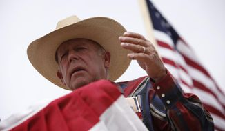 Rancher Cliven Bundy speaks at a protest camp near Bunkerville, Nev. Friday, April 18, 2014.  (AP Photo/Las Vegas Review-Journal, John Locher)