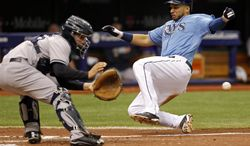 Tampa Bay Rays' James Loney, right, slides in to score on a sacrifice fly from Matt Joyce as New York Yankees catcher John Ryan Murphy awaits a late throw during the seventh inning of a baseball game on Sunday, April 20, 2014, in St. Petersburg, Fla. (AP Photo/Mike Carlson)