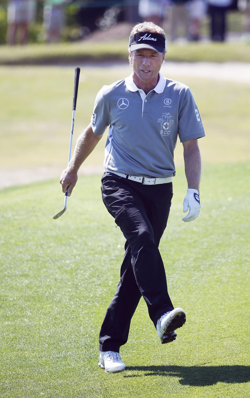 Bernhard Langer reacts after missing a eagle attempt on the 10th hole during the final round of play in the Greater Gwinnett Championship golf tournament of the Champions Tour, Sunday, April 20, 2014, in Duluth, Ga. (AP Photo/John Bazemore)