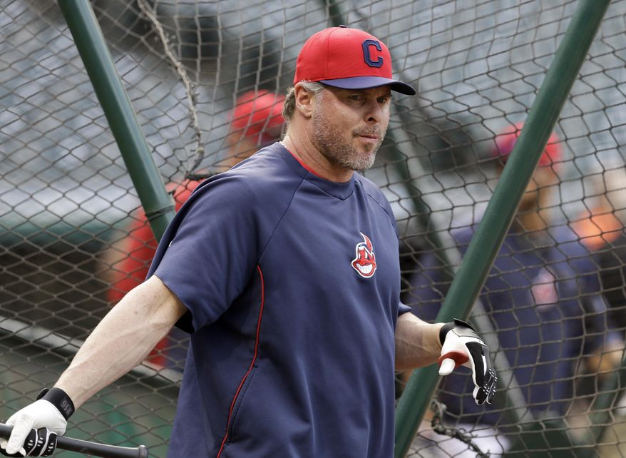 Cleveland Indians' Jason Giambi takes batting practice before a baseball game against the Kansas City Royals Monday, April 21, 2014, in Cleveland. Giambi was activated from the disabled list earlier in the day. (AP Photo/Mark Duncan)