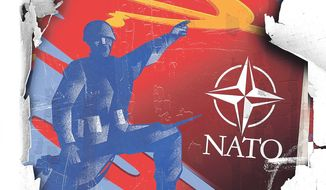Illustration on the future of NATO by Linas Garsys/The Washington Times