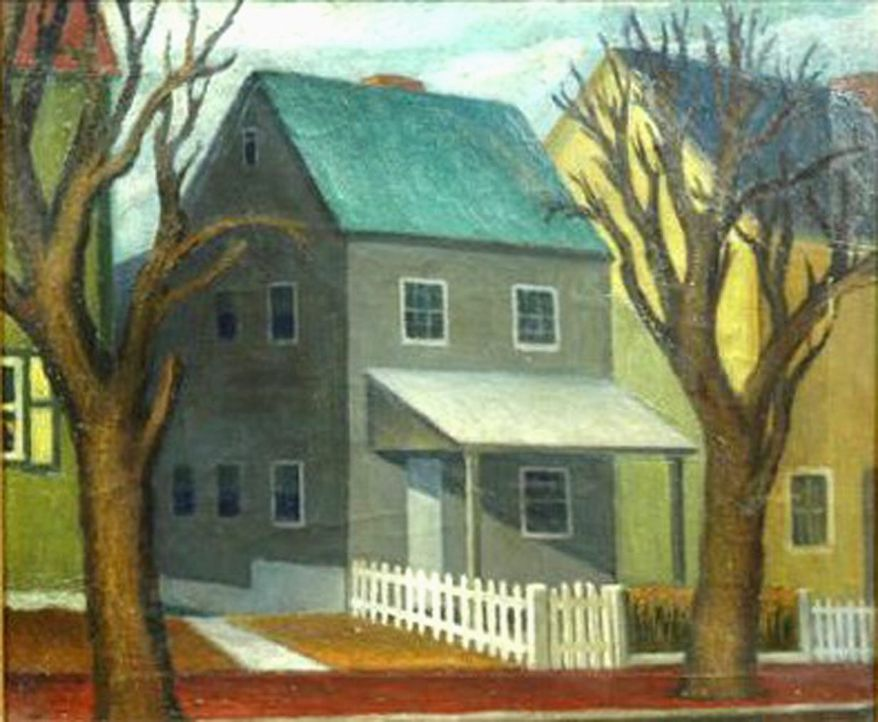 House with Fence, one of the WPA artwork recovered by the GSA.