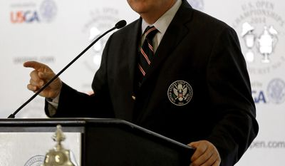Thomas J. O'Toole Jr., United States Golf Association President, speaks at Pinehurst Resort & Country Club during media day for the upcoming back-to-back U.S. Open and U.S. Women's Open golf championships to be held in Pinehurst, N.C., Monday, April 21, 2014. (AP Photo/Gerry Broome)
