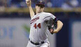 Minnesota Twins starting pitcher Kyle Gibson delivers to the Tampa Bay Rays during first inning of a baseball game Tuesday, April 22, 2014, in St. Petersburg, Fla. (AP Photo/Chris O'Meara)