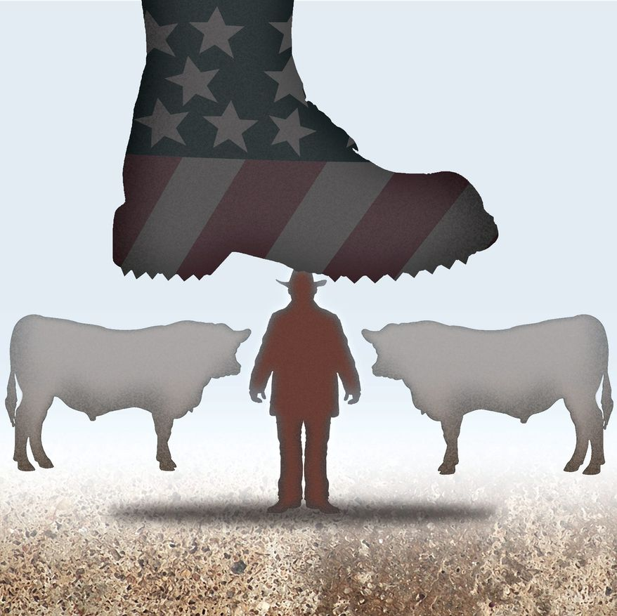 Illustration on the Bundy case by Alexander Hunter/The Washington Times